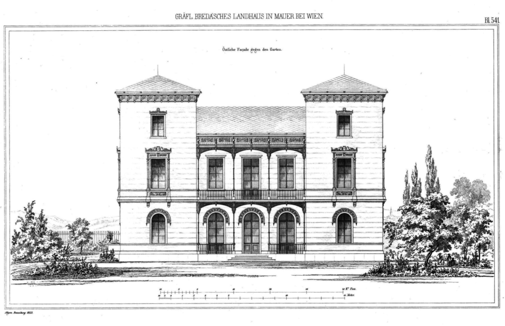 Ansicht der parkseitigen Fassade. Quelle: ONB, Allgemeine Bauzeitung, 1853, S. 541