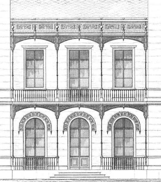 Ansicht der parkseitigen Fassade im Detail / Quelle: ONB, Allgemeine Bauzeitung, 1853, S. 541
