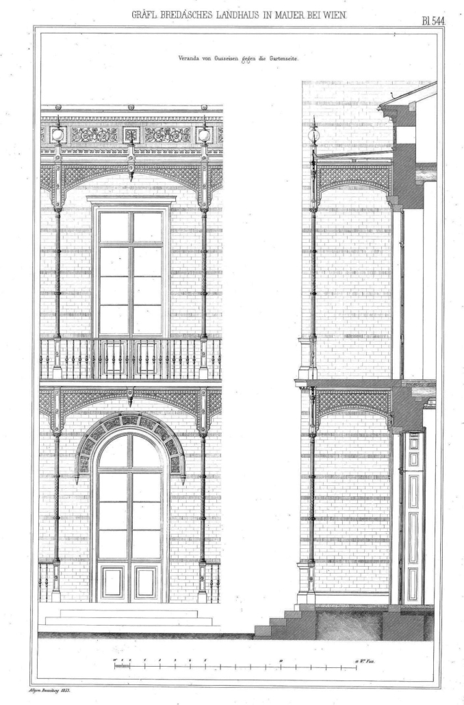 Teilansicht der Verandakonstruktion / Quelle: ONB, Allgemeine Bauzeitung, 1853, S. 544