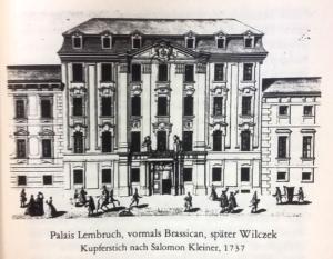 Palais Wilczek, Stich von Salomon Kleiner, 1739 Feuchtmüller, Rupert, Die Herrengasse, Wien, Hamburg, 1982, S. 43